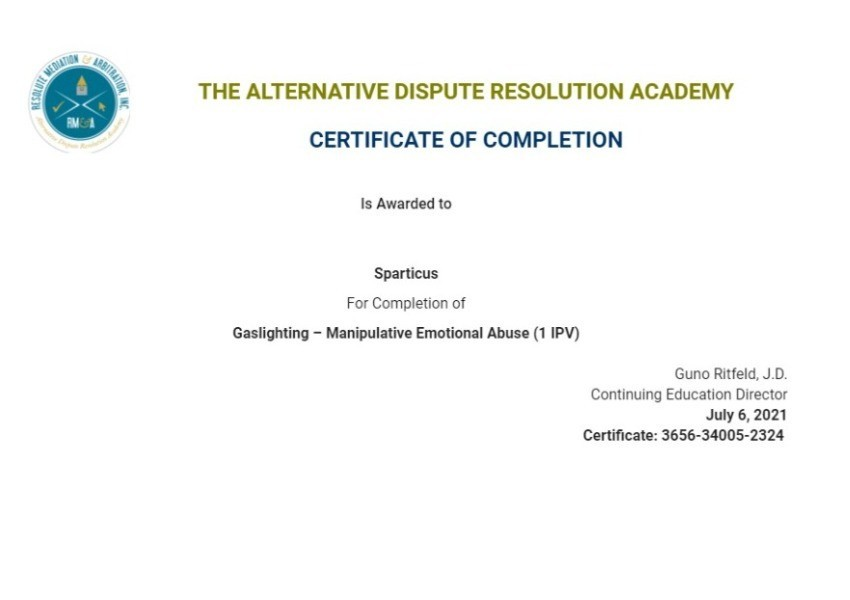 Certificate for User Sparticus