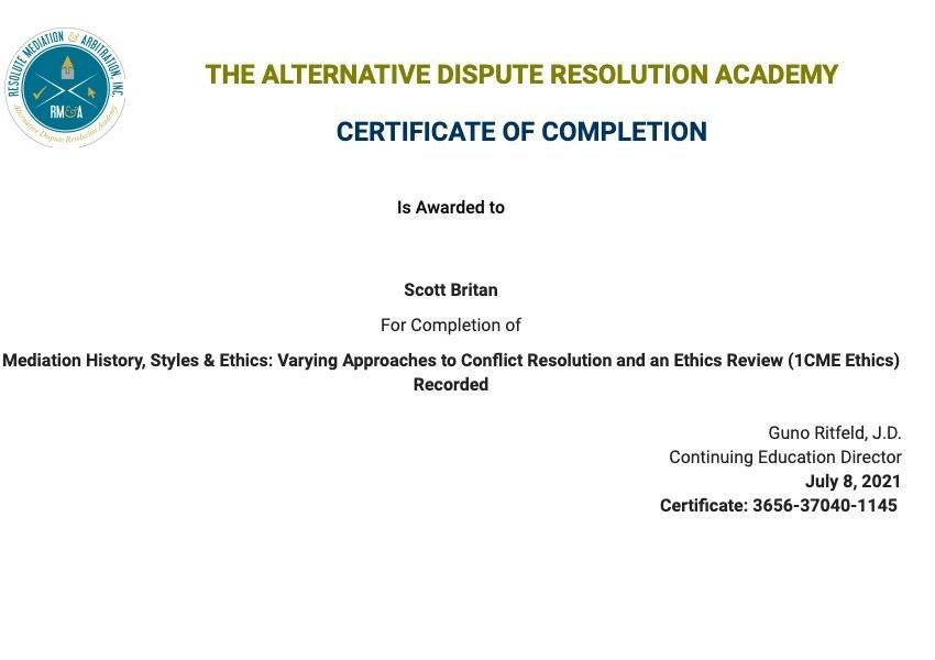 Certificate for User Scott Britan