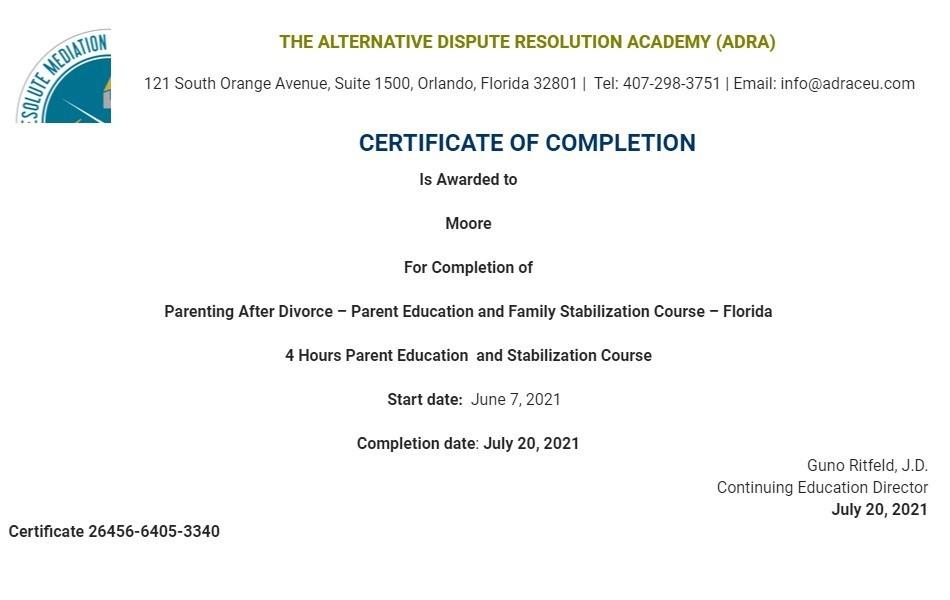Certificate for User Moore