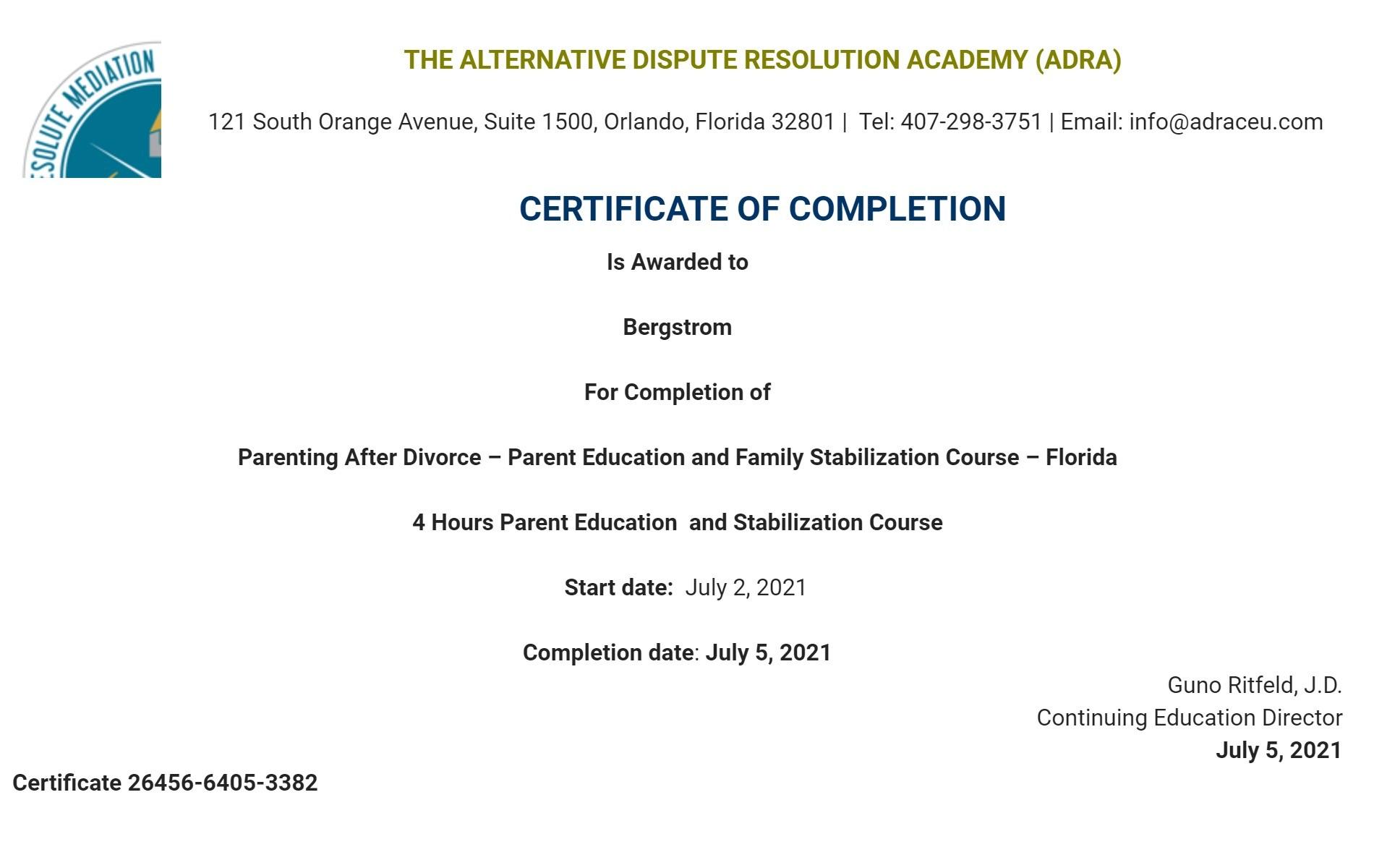 Certificate for User Bergstrom