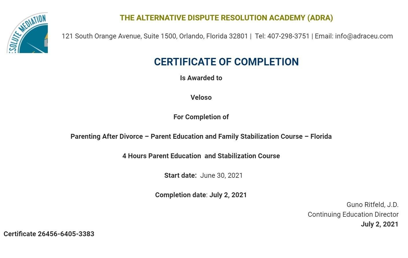 Certificate for User Veloso