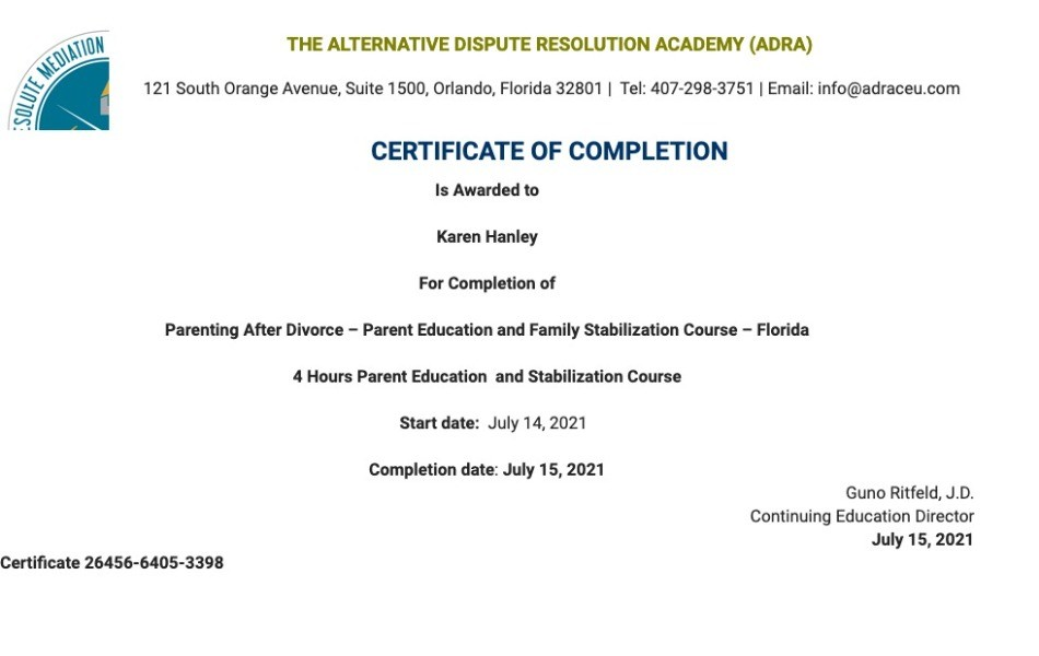 Certificate for User Karen Hanley