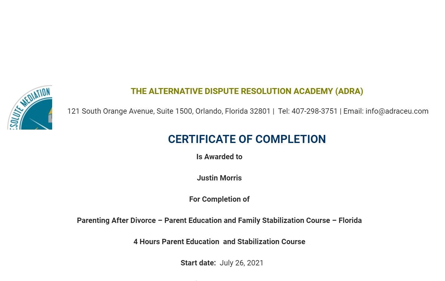 Certificate for User Justin Morris