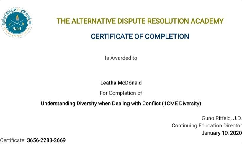 Certificate for User Leatha McDonald