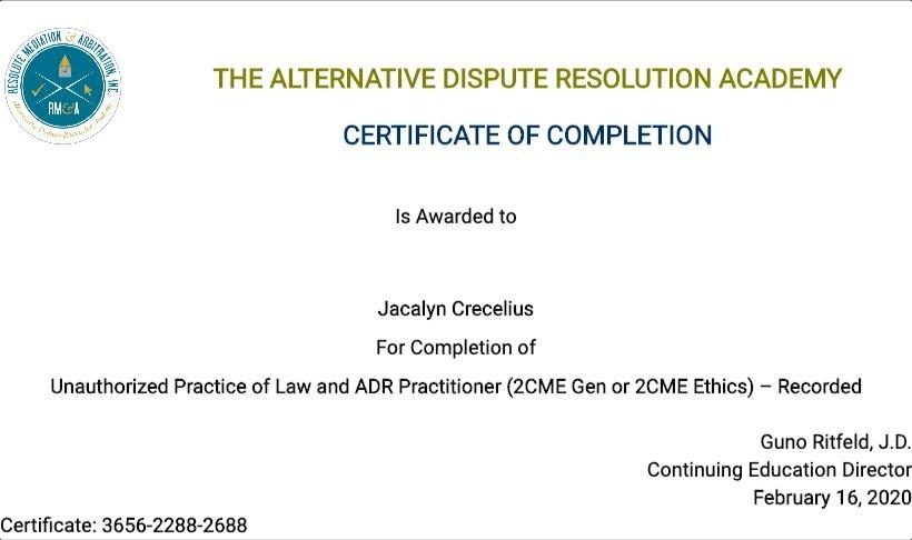 Certificate for User Jacalyn Crecelius