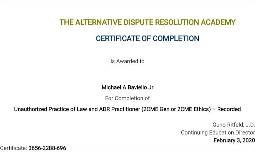 Certificate for User Michael A Baviello Jr