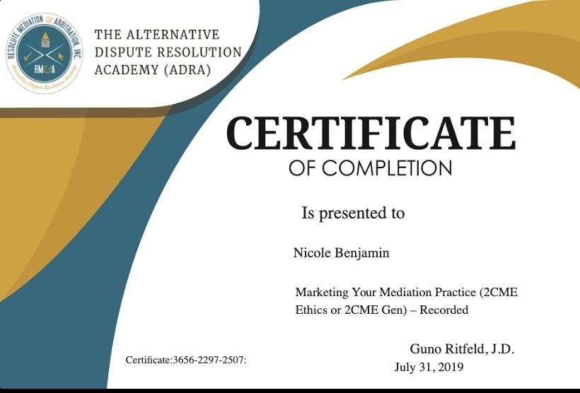Certificate for User Nicole Benjamin