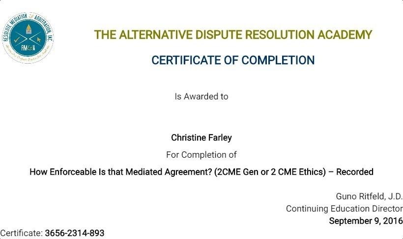 Certificate for User Christine Farley