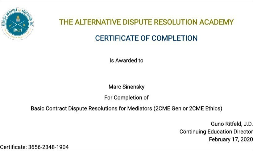 Certificate for User Marc Sinensky