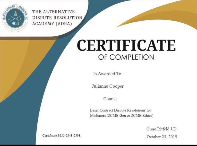 Certificate for User Julianne Cooper