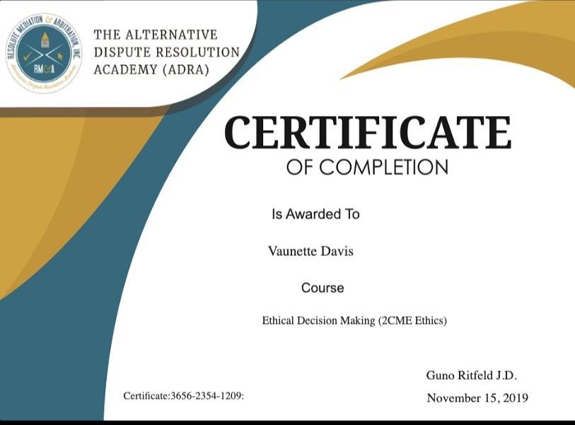 Certificate for User Vaunette Davis