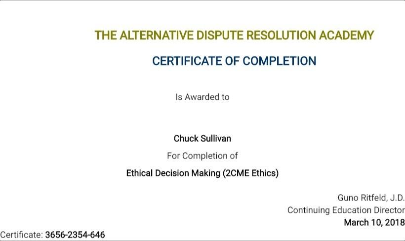 Certificate for User Chuck Sullivan