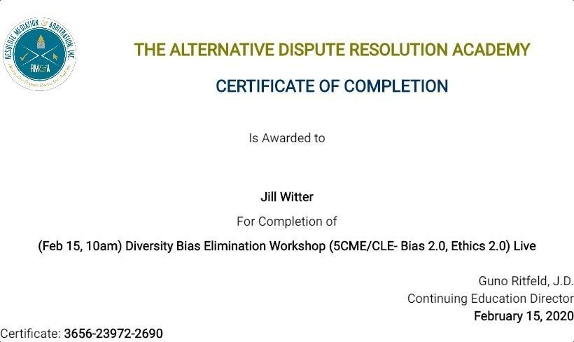 Certificate for User Jill Witter