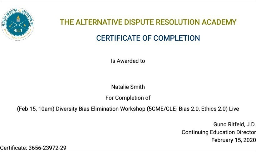 Certificate for User Natalie Smith