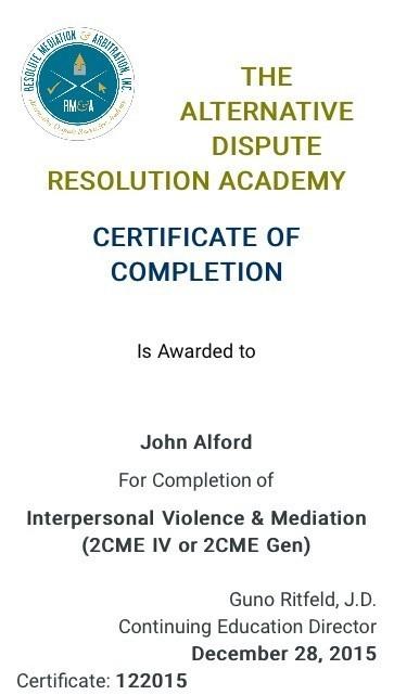 Certificate for User John Alford