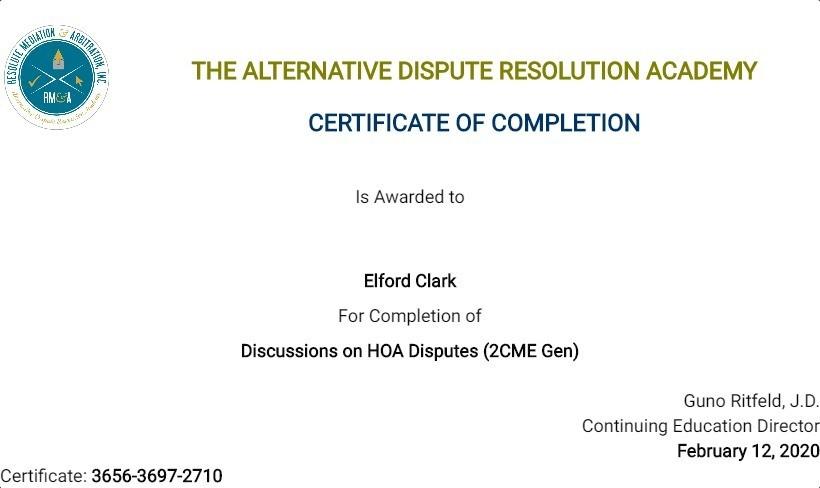 Certificate for User Elford Clark
