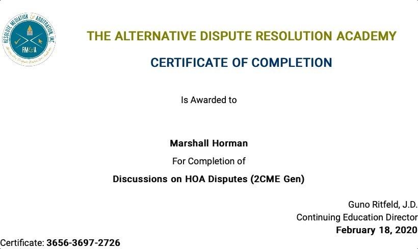 Certificate for User Marshall Horman