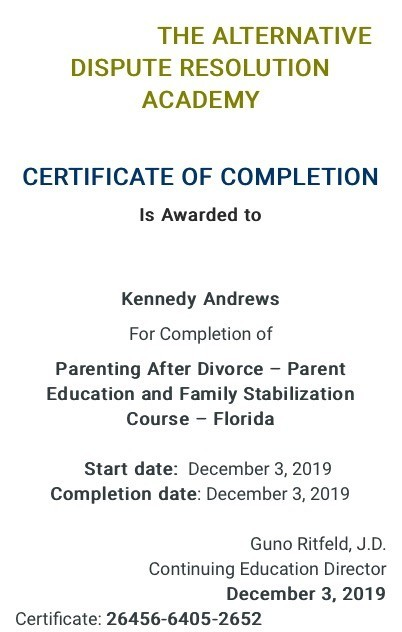 Certificate for User Kennedy Andrews
