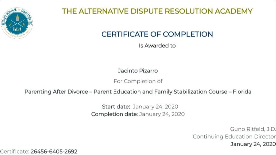 Certificate for User Jacinto Pizarro