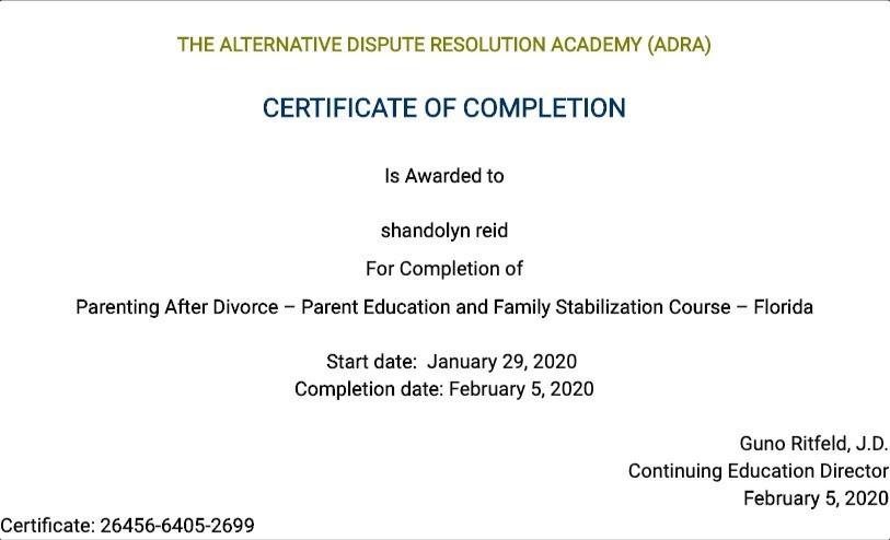 Certificate for User shandolyn reid