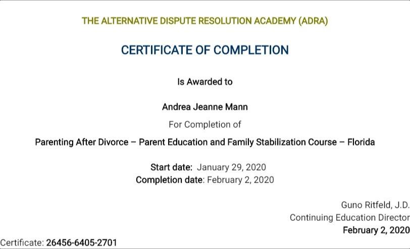 Certificate for User Andrea Jeanne Mann