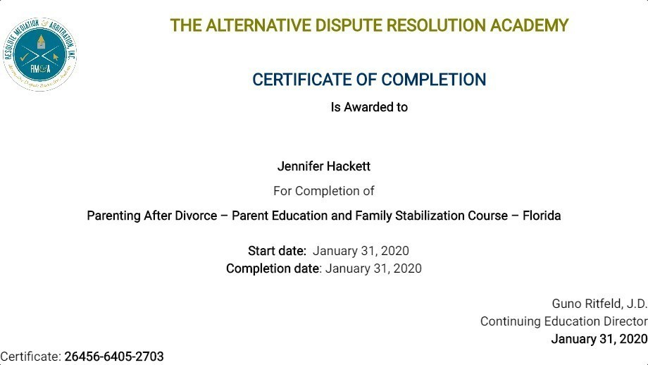 Certificate for User Jennifer Hackett