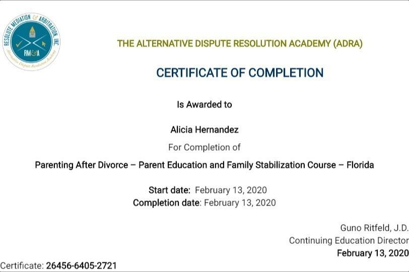 Certificate for User Alicia Hernandez