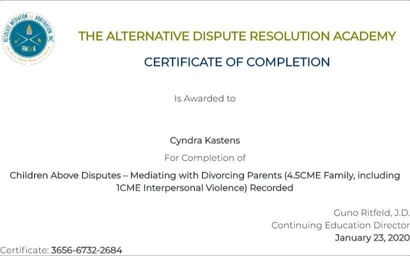 Certificate for User Cyndra Kastens