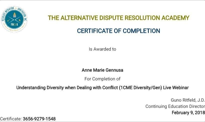 Certificate for User Anne Marie Gennusa